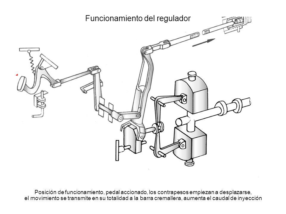 Funcionamiento del regulador Posición de funcionamiento, pedal accionado, los contrapesos empiezan a desplazarse, el movimiento se transmite en su tot