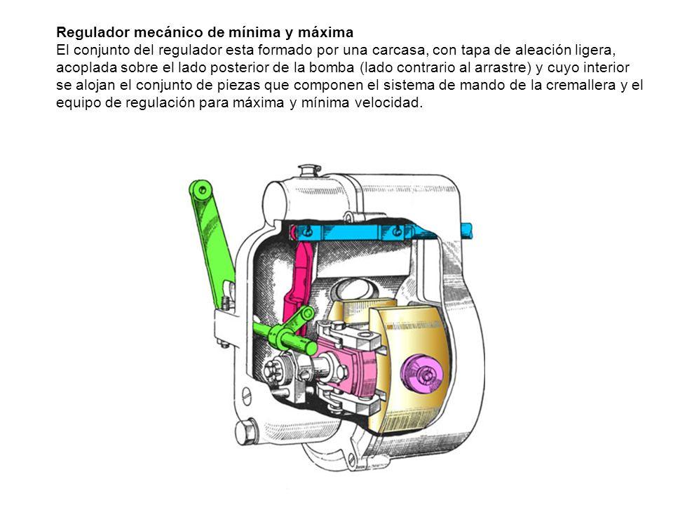 Regulador mecánico de mínima y máxima El conjunto del regulador esta formado por una carcasa, con tapa de aleación ligera, acoplada sobre el lado post