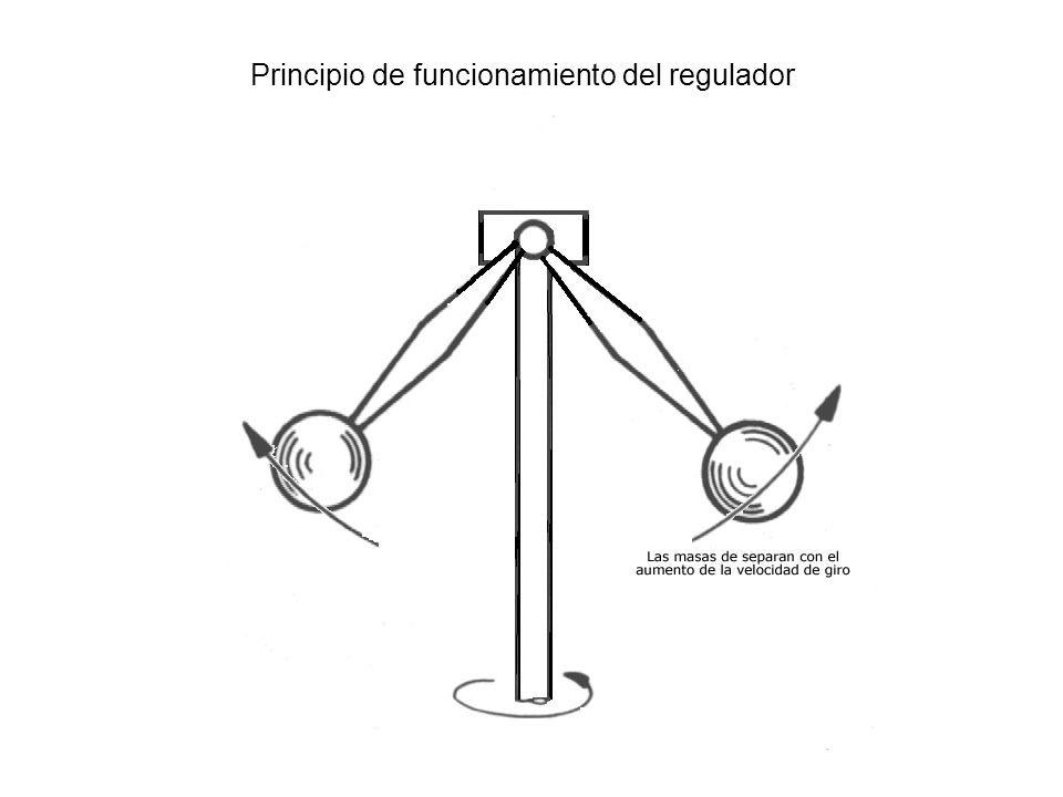 El conjunto de regulación esta formado esencialmente por las masas rotantes (12) que se desplazan por efecto de la fuerza centrifuga sobre unos pernos (18) acoplados sobre el extremo del árbol de levas de la bomba, cuyo desplazamiento es controlado por la acción antagonista que oponen unos muelles (13) al desplazamiento de las masas y que las mantienen en posición fija dentro de los limites de mínima y máxima velocidad.