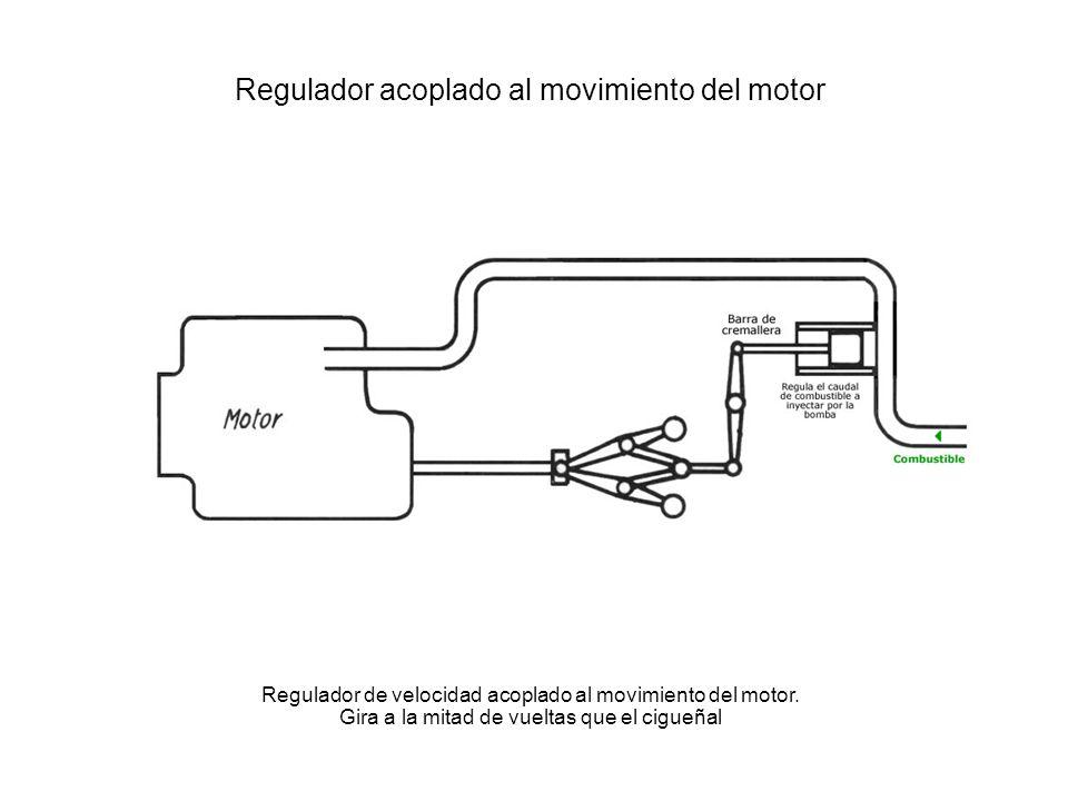 Regulador acoplado al movimiento del motor Regulador de velocidad acoplado al movimiento del motor. Gira a la mitad de vueltas que el cigueñal