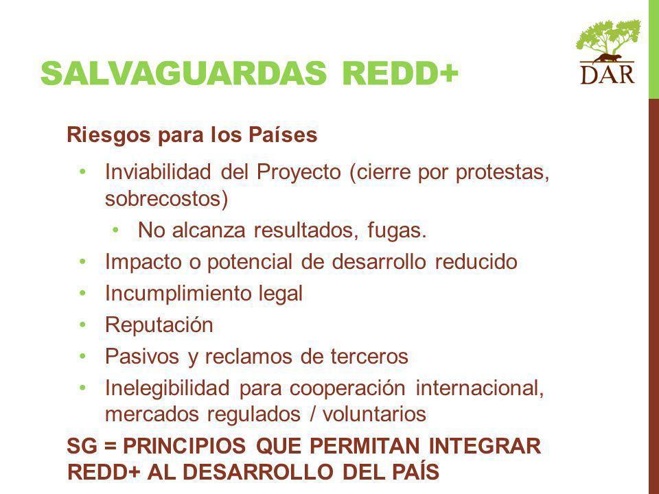 SALVAGUARDAS REDD+ Riesgos para los Países Inviabilidad del Proyecto (cierre por protestas, sobrecostos) No alcanza resultados, fugas. Impacto o poten