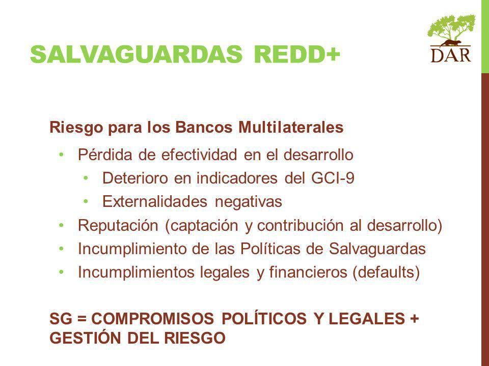 SALVAGUARDAS REDD+ Riesgo para los Bancos Multilaterales Pérdida de efectividad en el desarrollo Deterioro en indicadores del GCI-9 Externalidades negativas Reputación (captación y contribución al desarrollo) Incumplimiento de las Políticas de Salvaguardas Incumplimientos legales y financieros (defaults) SG = COMPROMISOS POLÍTICOS Y LEGALES + GESTIÓN DEL RIESGO