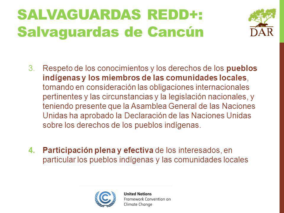 SALVAGUARDAS REDD+: Salvaguardas de Cancún 3.Respeto de los conocimientos y los derechos de los pueblos indígenas y los miembros de las comunidades locales, tomando en consideración las obligaciones internacionales pertinentes y las circunstancias y la legislación nacionales, y teniendo presente que la Asamblea General de las Naciones Unidas ha aprobado la Declaración de las Naciones Unidas sobre los derechos de los pueblos indígenas.
