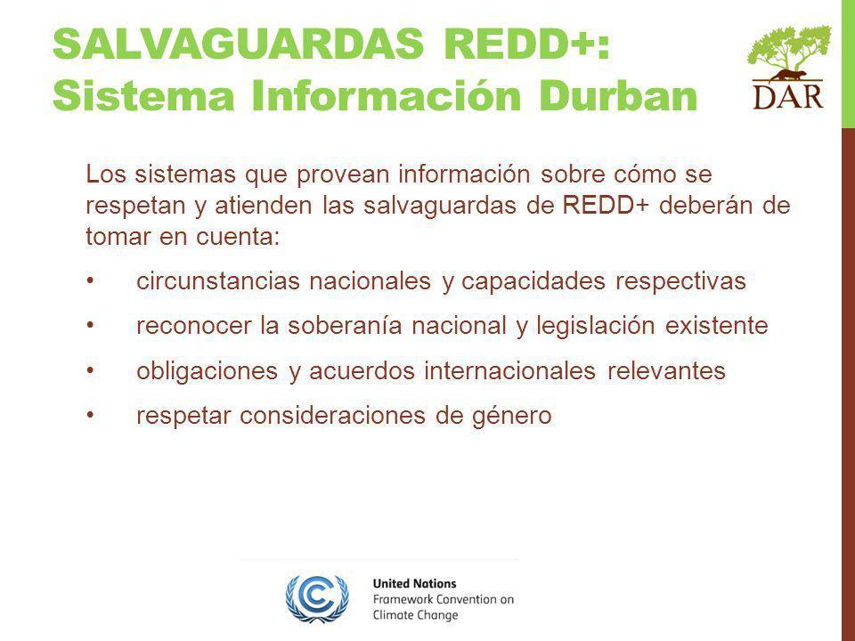 SALVAGUARDAS REDD+: Sistema Información Durban Los sistemas que provean información sobre cómo se respetan y atienden las salvaguardas de REDD+ deberá