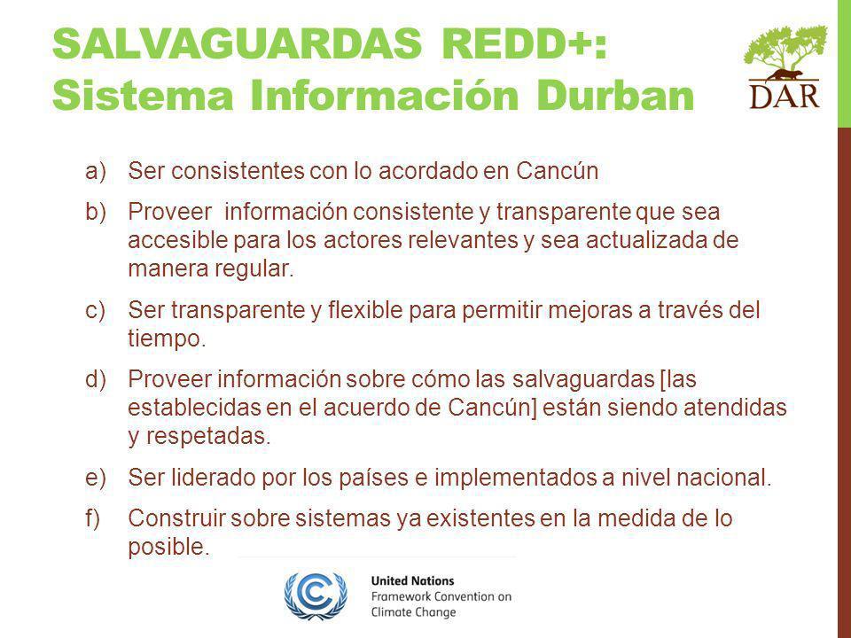 SALVAGUARDAS REDD+: Sistema Información Durban a)Ser consistentes con lo acordado en Cancún b)Proveer información consistente y transparente que sea accesible para los actores relevantes y sea actualizada de manera regular.