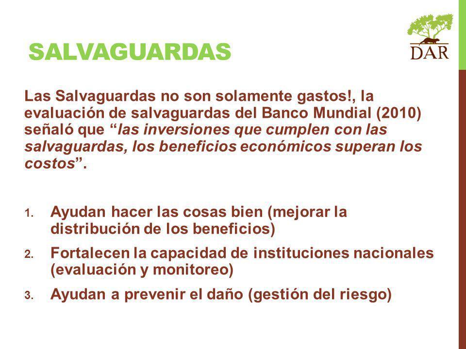 Las Salvaguardas no son solamente gastos!, la evaluación de salvaguardas del Banco Mundial (2010) señaló que las inversiones que cumplen con las salvaguardas, los beneficios económicos superan los costos.
