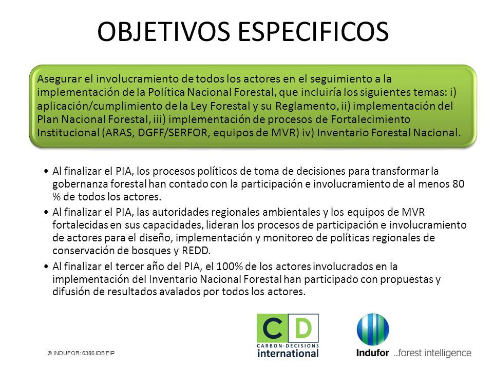 © INDUFOR: 6386 IDB FIP Asegurar el involucramiento de todos los actores en el seguimiento a la implementación de la Política Nacional Forestal, que i