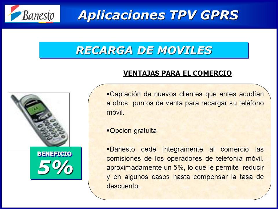 Aplicaciones TPV GPRS Aplicaciones TPV GPRS Captación de nuevos clientes que antes acudían a otros puntos de venta para recargar su teléfono móvil.