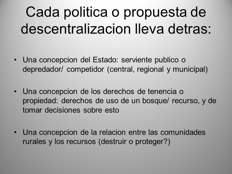 Cada politica o propuesta de descentralizacion lleva detras: Una concepcion del Estado: serviente publico o depredador/ competidor (central, regional