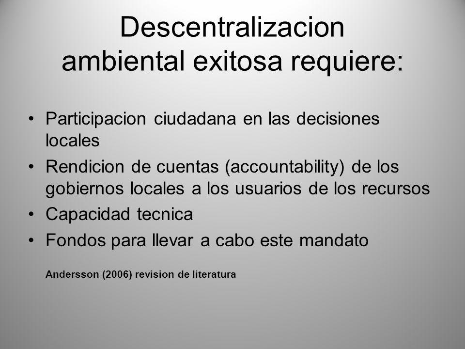 Descentralizacion ambiental exitosa requiere: Participacion ciudadana en las decisiones locales Rendicion de cuentas (accountability) de los gobiernos