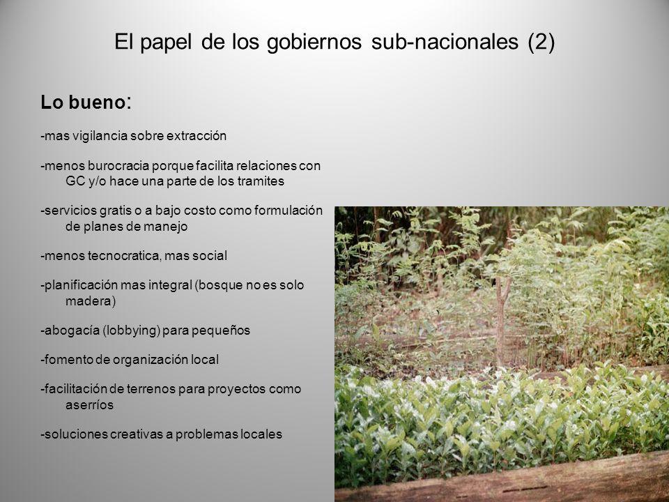 El papel de los gobiernos sub-nacionales (2) Lo bueno : -mas vigilancia sobre extracción -menos burocracia porque facilita relaciones con GC y/o hace una parte de los tramites -servicios gratis o a bajo costo como formulación de planes de manejo -menos tecnocratica, mas social -planificación mas integral (bosque no es solo madera) -abogacía (lobbying) para pequeños -fomento de organización local -facilitación de terrenos para proyectos como aserríos -soluciones creativas a problemas locales