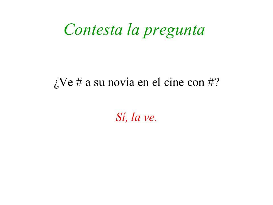 Contesta la pregunta ¿Ve # a su novia en el cine con #? Sí, la ve.