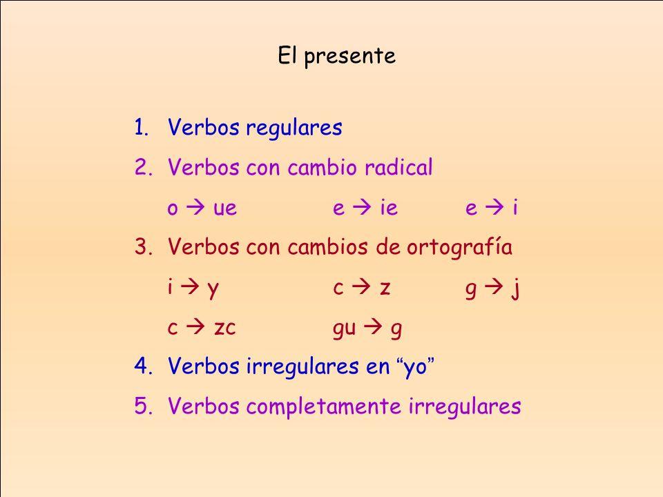 1.Verbos regulares 2.Verbos con cambio radical o uee iee i 3.Verbos con cambios de ortografía i yc zg j c zcgu g 4.Verbos irregulares en yo 5.Verbos c