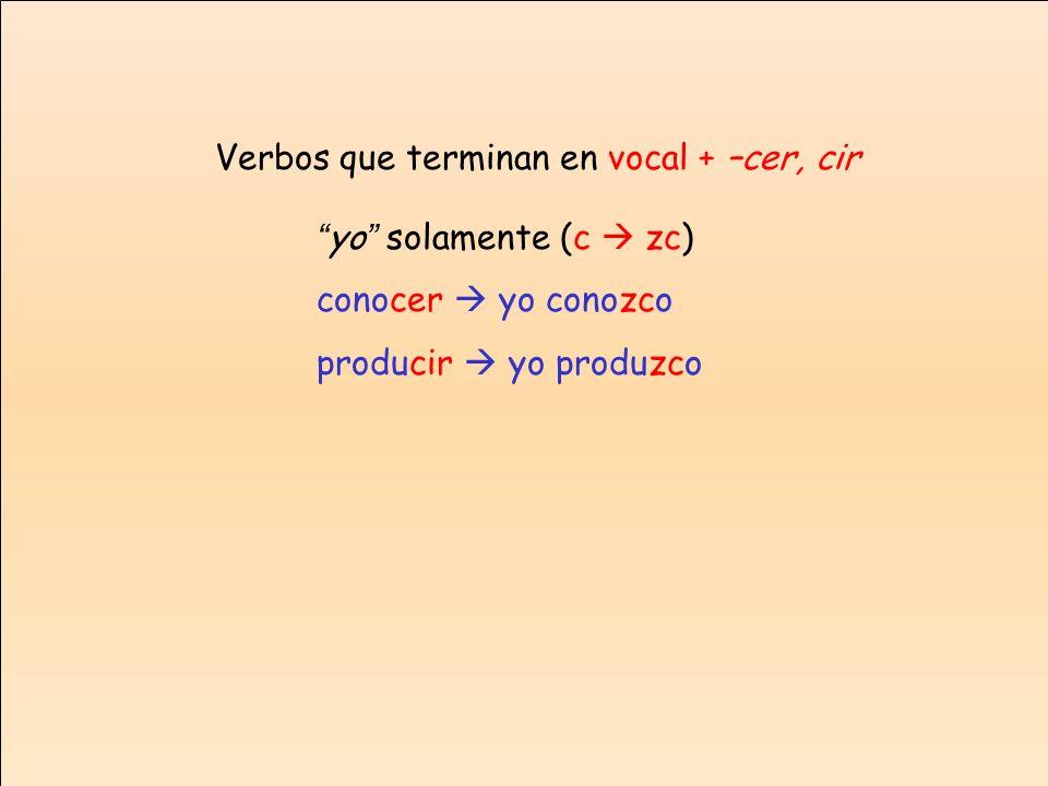 Verbos que terminan en vocal + –cer, cir yo solamente (c zc) conocer yo conozco producir yo produzco