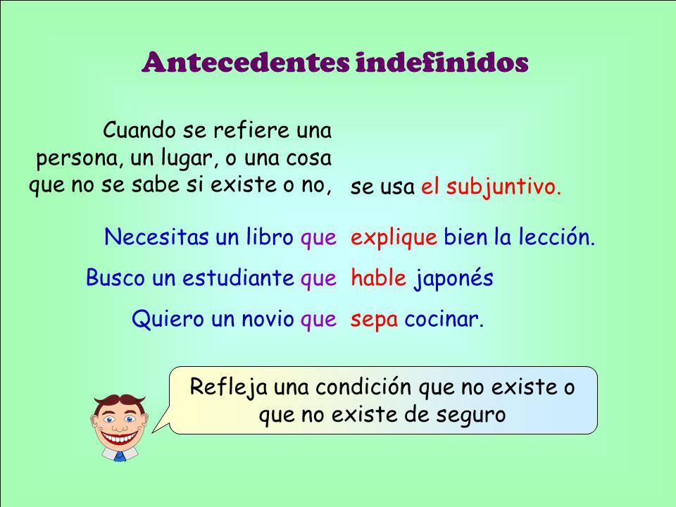 (Note that the indicative is used if the person, place, or thing definitely exists.) Necesitas un libro que explique bien la lección.