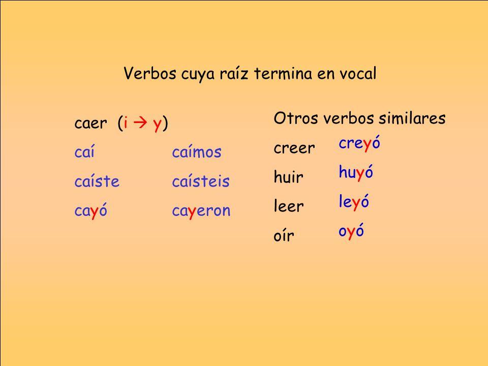 Verbos cuya raíz termina en vocal caer (i y) caícaímos caístecaísteis cayócayeron Otros verbos similares creer huir leer oír creyó huyó leyó oyó