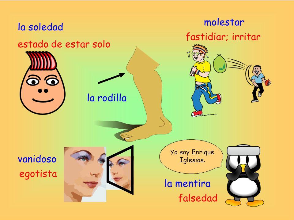 la mentira molestar vanidoso la soledad falsedad fastidiar; irritar estado de estar solo egotista la rodilla Yo soy Enrique Iglesias.