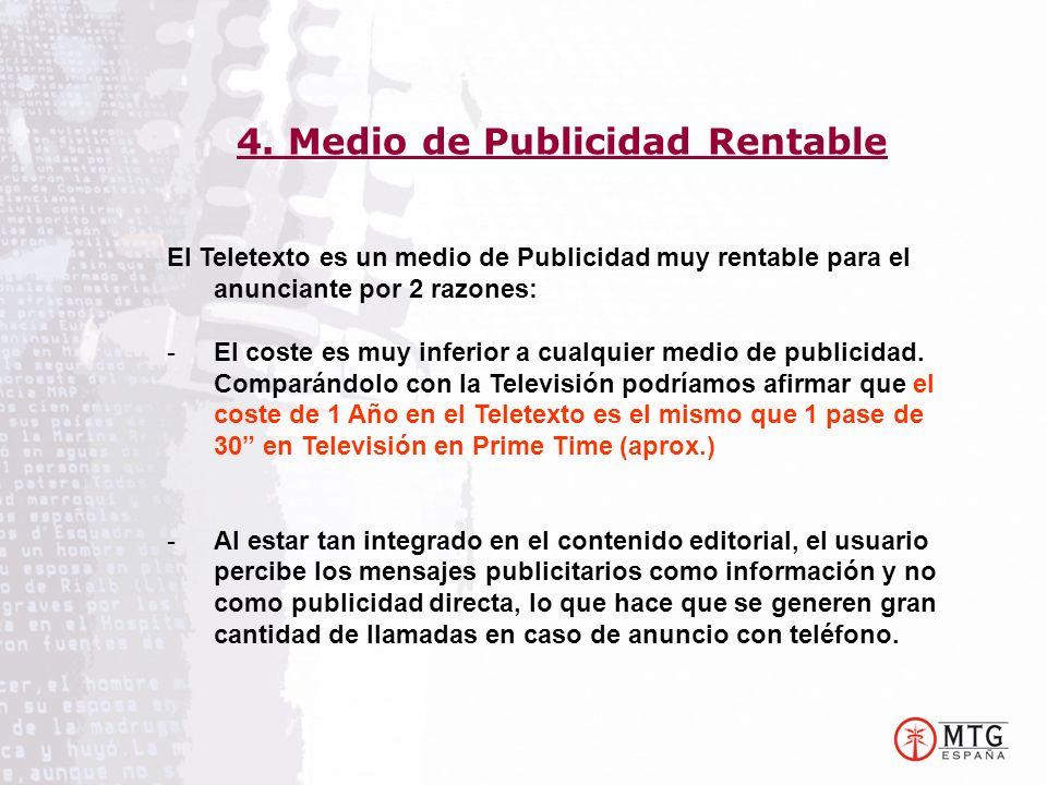 El Teletexto es un medio de Publicidad muy rentable para el anunciante por 2 razones: -El coste es muy inferior a cualquier medio de publicidad. Compa