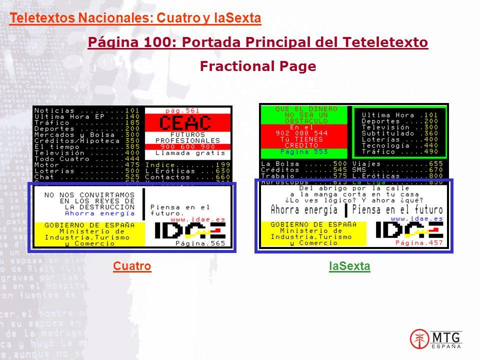 Página 100: Portada Principal del Teteletexto Fractional Page Teletextos Nacionales: Cuatro y laSexta CuatrolaSexta