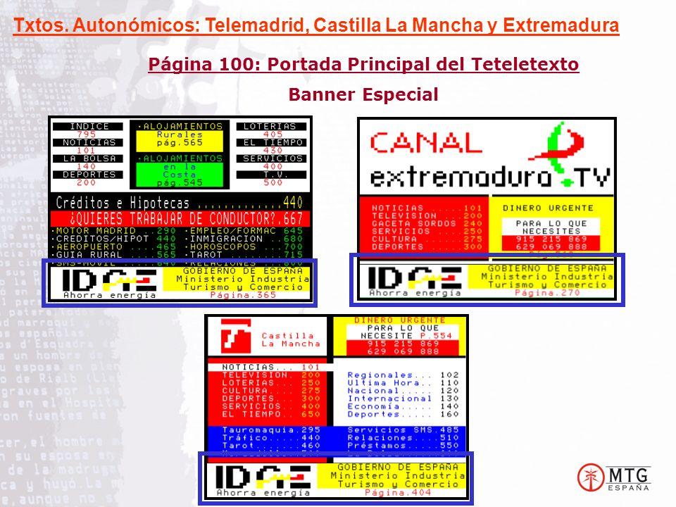 Página 100: Portada Principal del Teteletexto Banner Especial Txtos. Autonómicos: Telemadrid, Castilla La Mancha y Extremadura