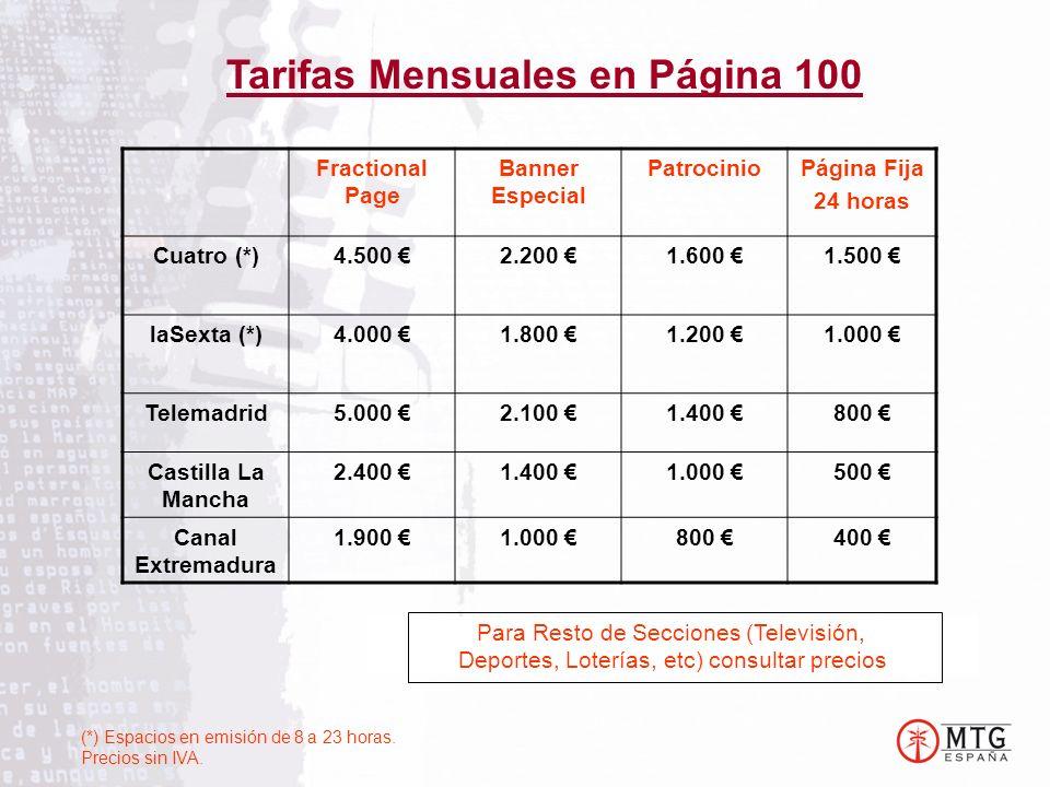 Tarifas Mensuales en Página 100 Para Resto de Secciones (Televisión, Deportes, Loterías, etc) consultar precios Fractional Page Banner Especial PatrocinioPágina Fija 24 horas Cuatro (*)4.500 2.200 1.600 1.500 laSexta (*)4.000 1.800 1.200 1.000 Telemadrid5.000 2.100 1.400 800 Castilla La Mancha 2.400 1.400 1.000 500 Canal Extremadura 1.900 1.000 800 400 (*) Espacios en emisión de 8 a 23 horas.