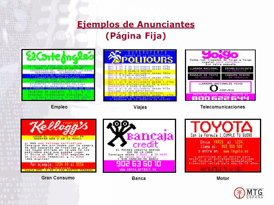 Ejemplos de Anunciantes (Página Fija) Empleo Viajes Telecomunicaciones MotorBanca Gran Consumo