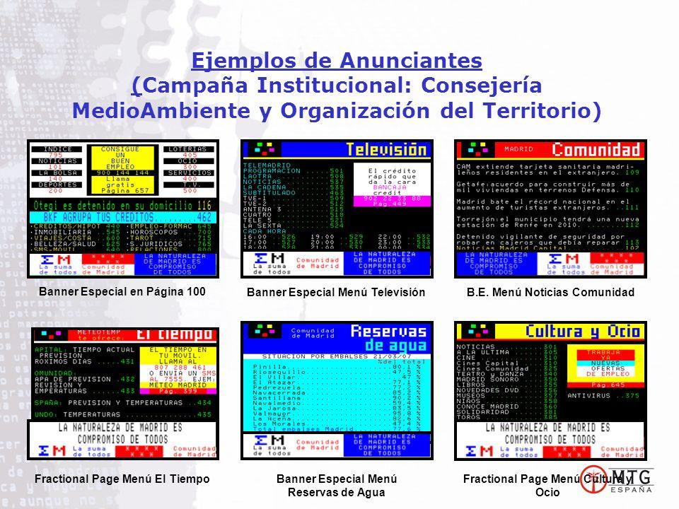 Ejemplos de Anunciantes (Campaña Institucional: Consejería MedioAmbiente y Organización del Territorio) Fractional Page Menú El Tiempo Banner Especial