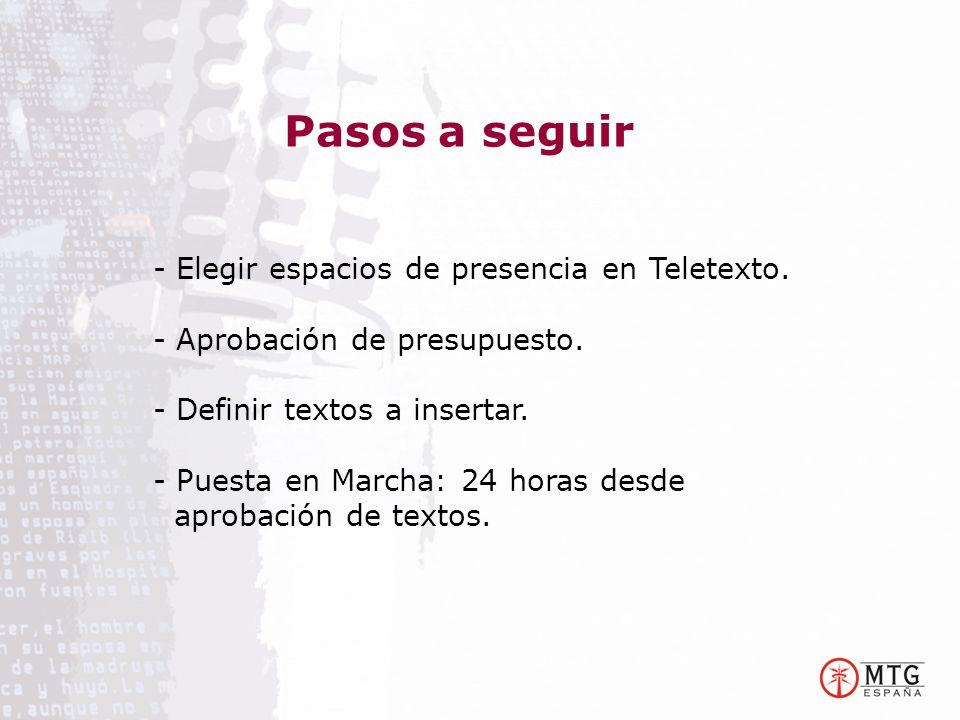 Pasos a seguir - Elegir espacios de presencia en Teletexto.