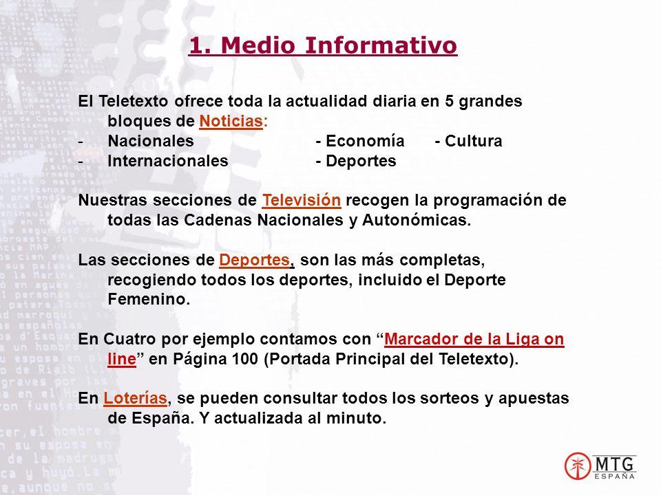 El Teletexto ofrece toda la actualidad diaria en 5 grandes bloques de Noticias: -Nacionales- Economía- Cultura -Internacionales- Deportes Nuestras secciones de Televisión recogen la programación de todas las Cadenas Nacionales y Autonómicas.