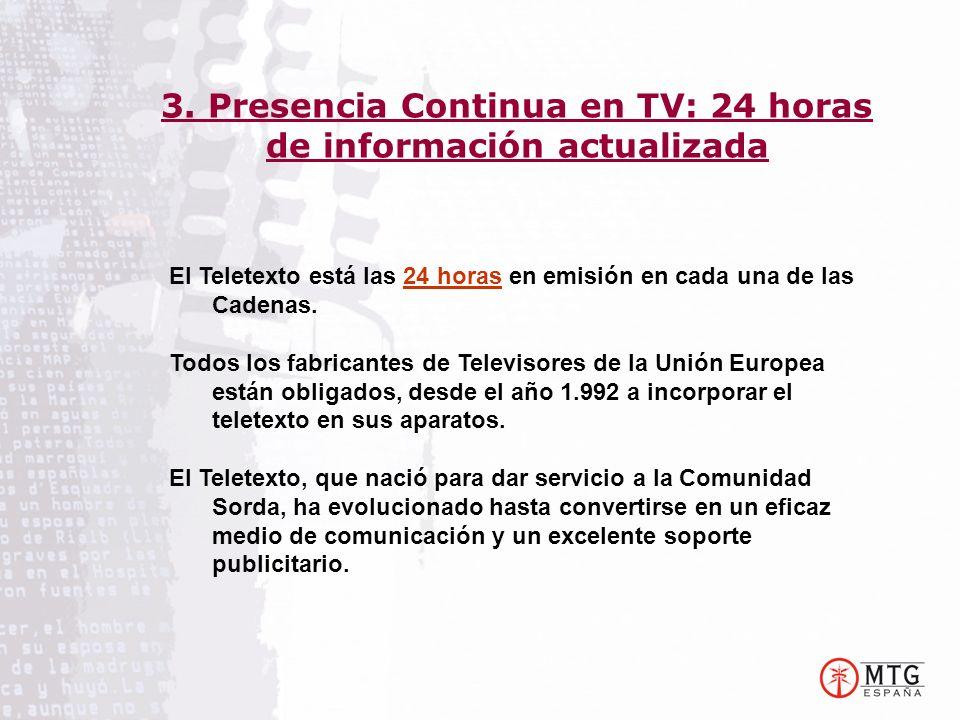 El Teletexto está las 24 horas en emisión en cada una de las Cadenas. Todos los fabricantes de Televisores de la Unión Europea están obligados, desde