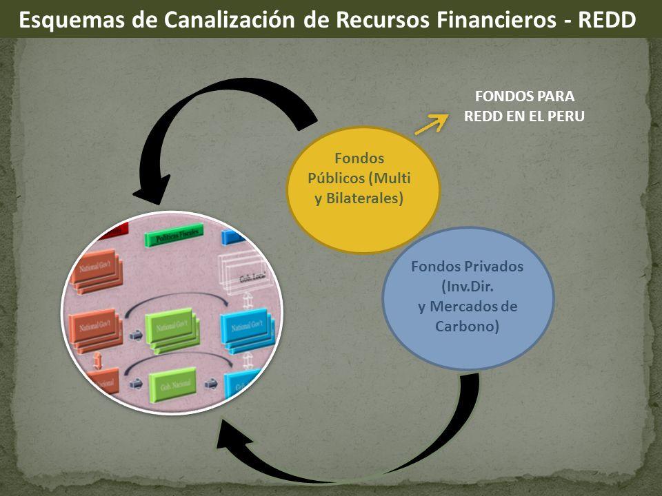 Fondos Públicos (Multi y Bilaterales) Fondos Privados (Inv.Dir. y Mercados de Carbono) Esquemas de Canalización de Recursos Financieros - REDD FONDOS