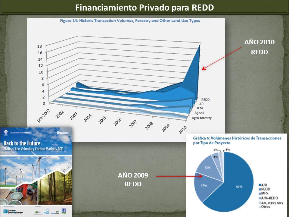 Financiamiento Privado para REDD AÑO 2009 REDD AÑO 2010 REDD