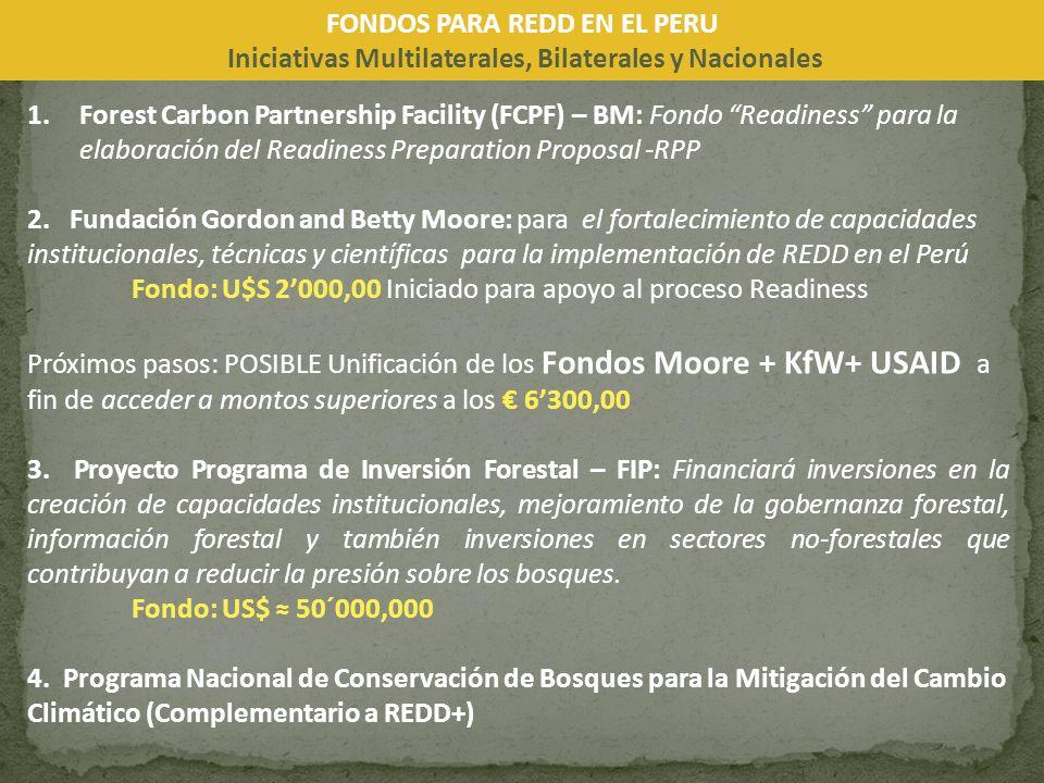 1.Forest Carbon Partnership Facility (FCPF) – BM: Fondo Readiness para la elaboración del Readiness Preparation Proposal -RPP 2. Fundación Gordon and