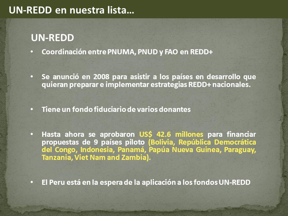 UN-REDD Coordinación entre PNUMA, PNUD y FAO en REDD+ Se anunció en 2008 para asistir a los países en desarrollo que quieran preparar e implementar estrategias REDD+ nacionales.
