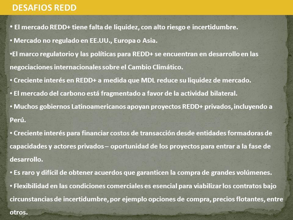El mercado REDD+ tiene falta de liquidez, con alto riesgo e incertidumbre. Mercado no regulado en EE.UU., Europa o Asia. El marco regulatorio y las po