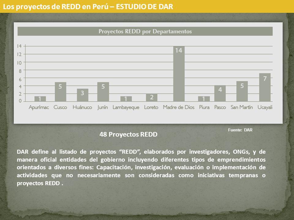 Los proyectos de REDD en Perú – ESTUDIO DE DAR Fuente: DAR DAR define al listado de proyectos REDD, elaborados por investigadores, ONGs, y de manera oficial entidades del gobierno incluyendo diferentes tipos de emprendimientos orientados a diversos fines: Capacitación, investigación, evaluación o implementación de actividades que no necesariamente son consideradas como iniciativas tempranas o proyectos REDD.
