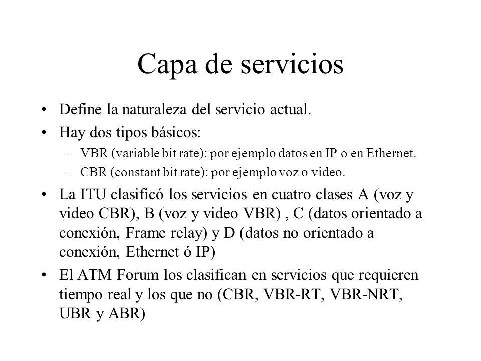 Capa de servicios Define la naturaleza del servicio actual. Hay dos tipos básicos: –VBR (variable bit rate): por ejemplo datos en IP o en Ethernet. –C