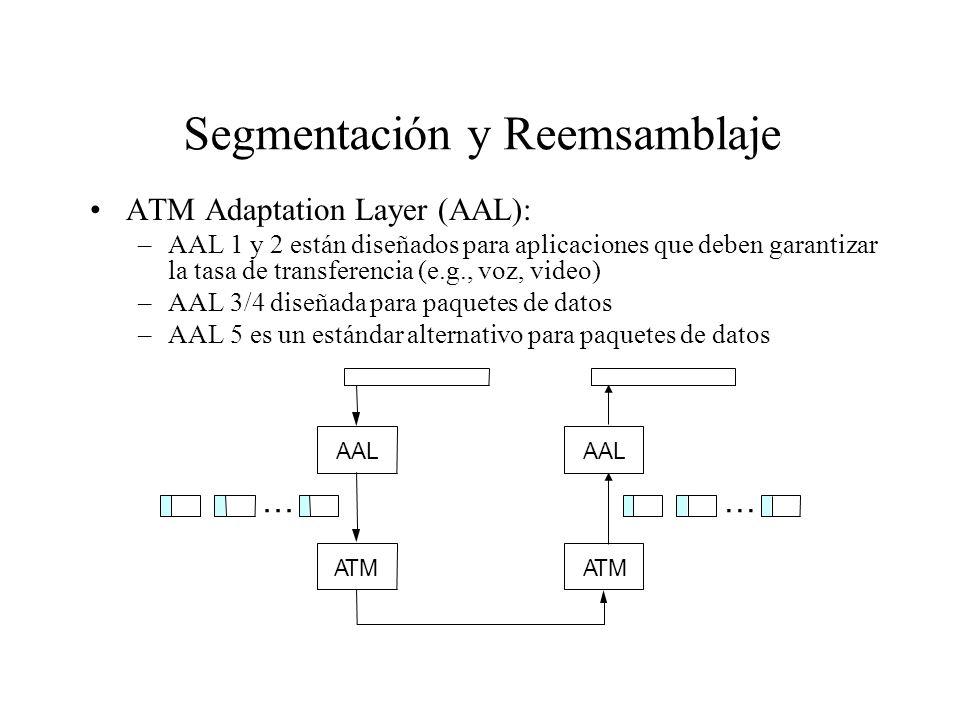 Segmentación y Reemsamblaje ATM Adaptation Layer (AAL): –AAL 1 y 2 están diseñados para aplicaciones que deben garantizar la tasa de transferencia (e.