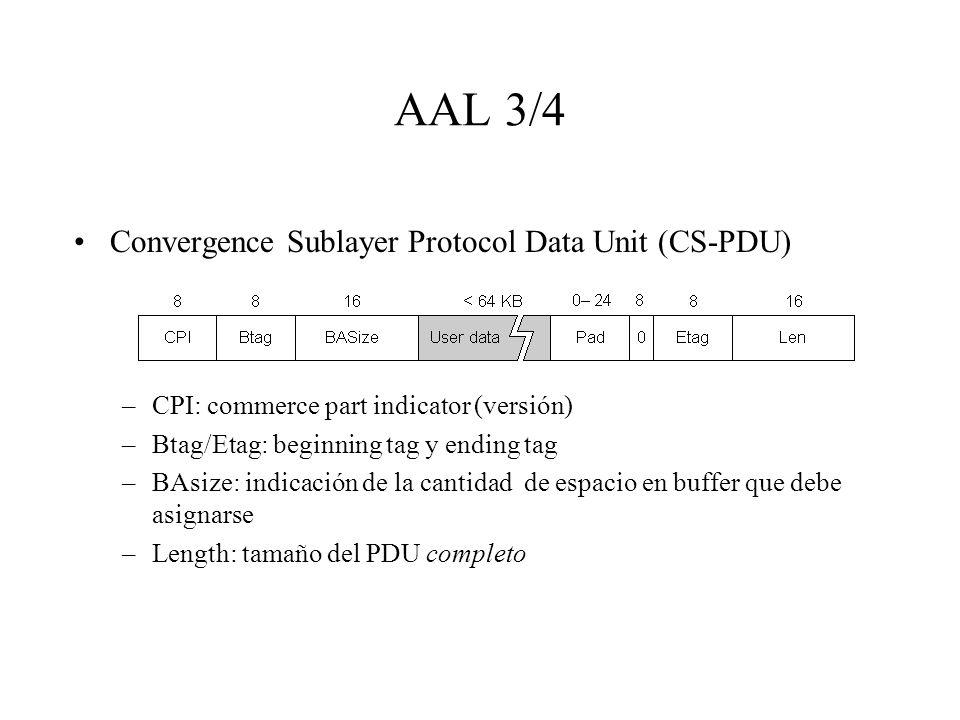 AAL 3/4 Convergence Sublayer Protocol Data Unit (CS-PDU) –CPI: commerce part indicator (versión) –Btag/Etag: beginning tag y ending tag –BAsize: indic