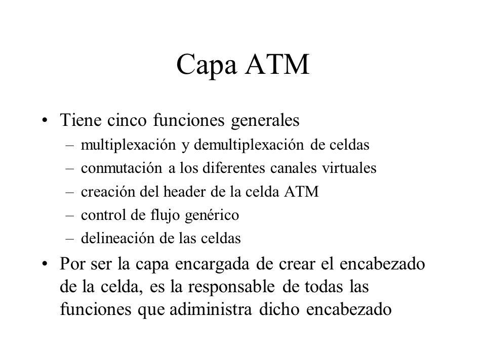 Capa ATM Tiene cinco funciones generales –multiplexación y demultiplexación de celdas –conmutación a los diferentes canales virtuales –creación del he
