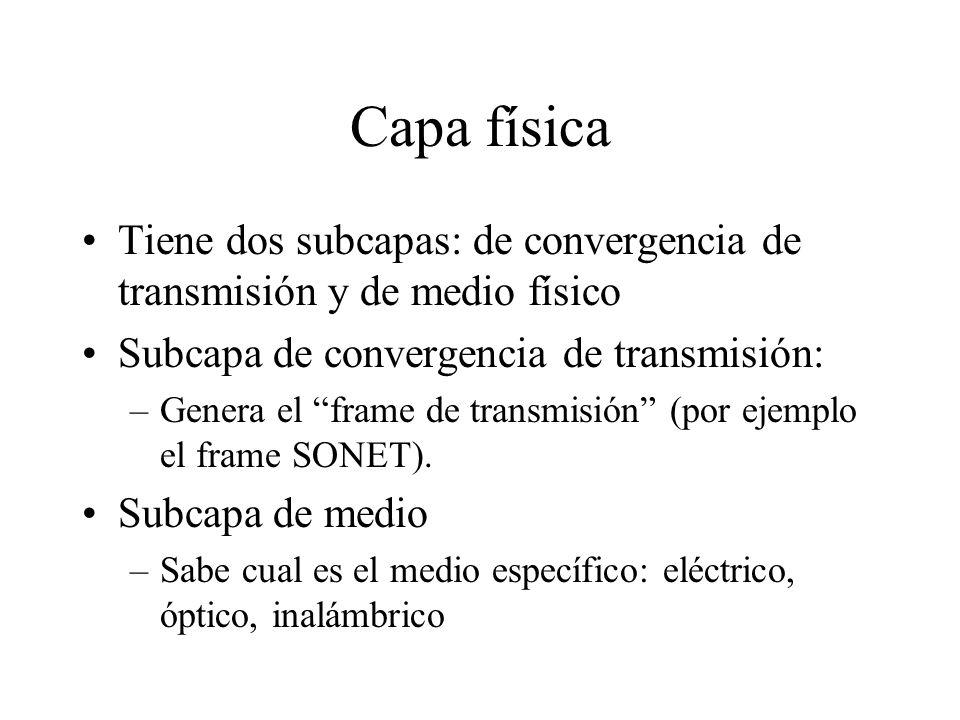 Capa física Tiene dos subcapas: de convergencia de transmisión y de medio físico Subcapa de convergencia de transmisión: –Genera el frame de transmisi
