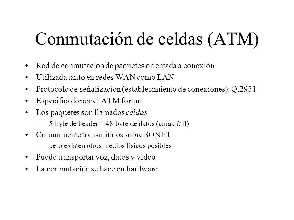 Evolución de ATM ATM, en su forma original, fue diseñada para trabajar con SONET (Synchronous Optical Network) ó con SDH (Synchronous Digital Hierarchy) para ofrecer transporte y conmutación a alta velocidad en redes WAN, MAN, Campus y LAN, Sin embargo, debido a QoS en IP, Fast Ethernet y Gigabit Ethernet, no tiene sentido utilizar ATM cerca de la estación de trabajo: sólo en el backbone o en la red WAN.