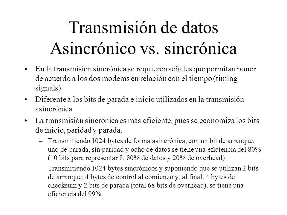 Transmisión de datos Asincrónico vs. sincrónica En la transmisión sincrónica se requieren señales que permitan poner de acuerdo a los dos modems en re