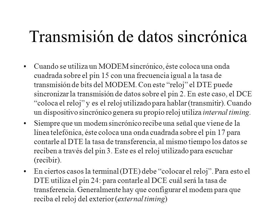 Transmisión de datos sincrónica Cuando se utiliza un MODEM sincrónico, éste coloca una onda cuadrada sobre el pin 15 con una frecuencia igual a la tas