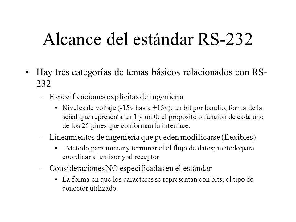 Alcance del estándar RS-232 Hay tres categorías de temas básicos relacionados con RS- 232 –Especificaciones explícitas de ingeniería Niveles de voltaj