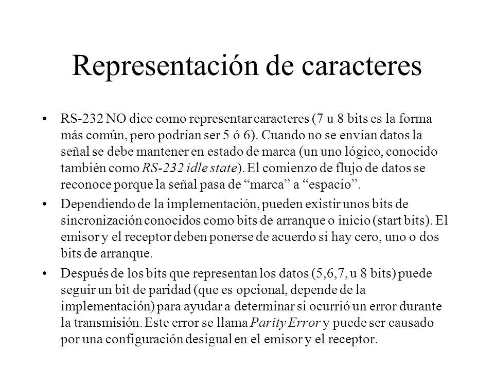 Representación de caracteres RS-232 NO dice como representar caracteres (7 u 8 bits es la forma más común, pero podrían ser 5 ó 6). Cuando no se envía