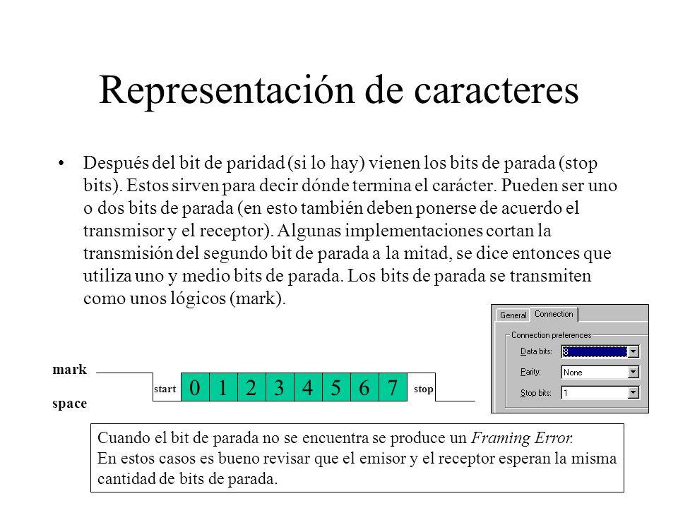 Representación de caracteres Después del bit de paridad (si lo hay) vienen los bits de parada (stop bits). Estos sirven para decir dónde termina el ca