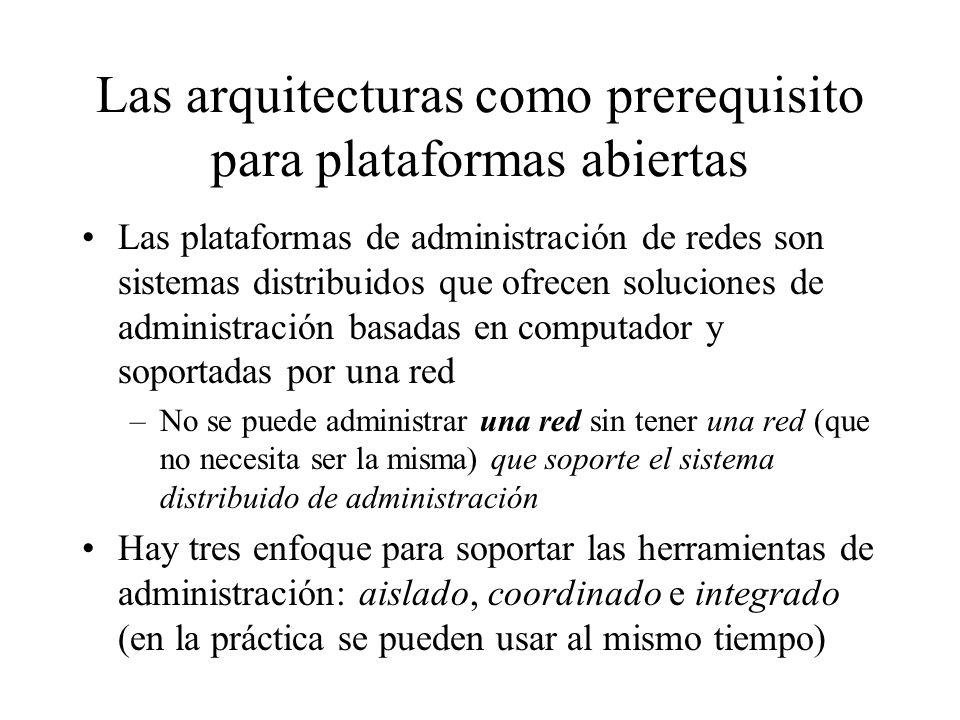 Las arquitecturas como prerequisito para plataformas abiertas Las plataformas de administración de redes son sistemas distribuidos que ofrecen solucio