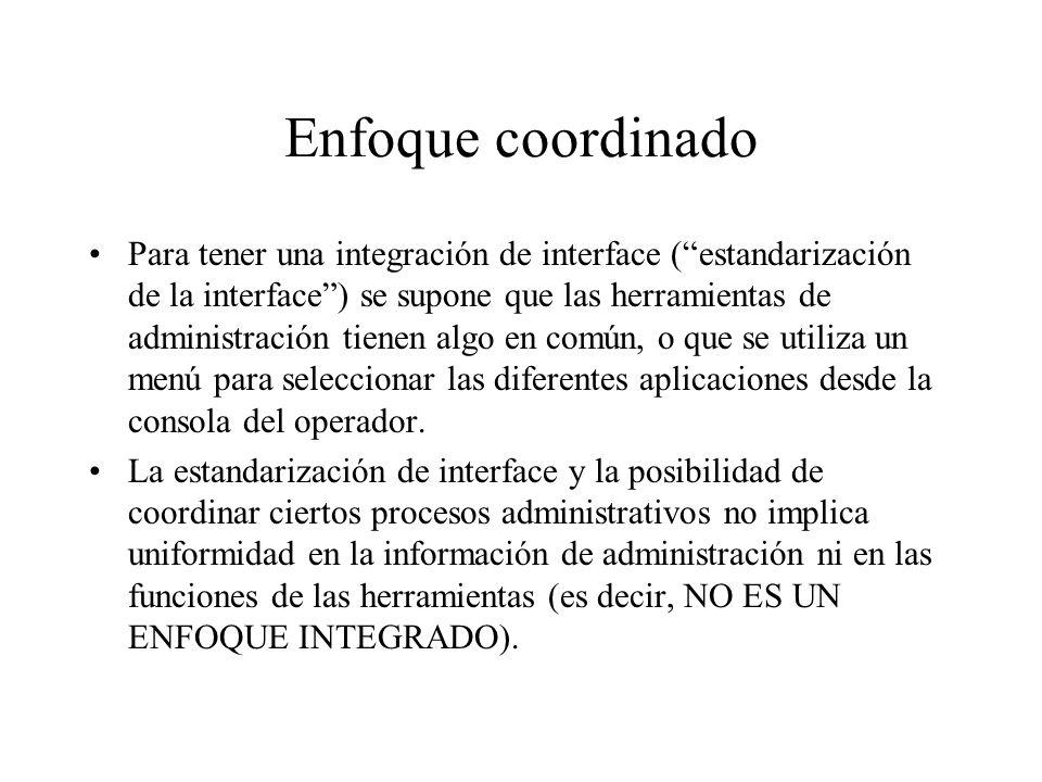 Enfoque coordinado Para tener una integración de interface (estandarización de la interface) se supone que las herramientas de administración tienen a