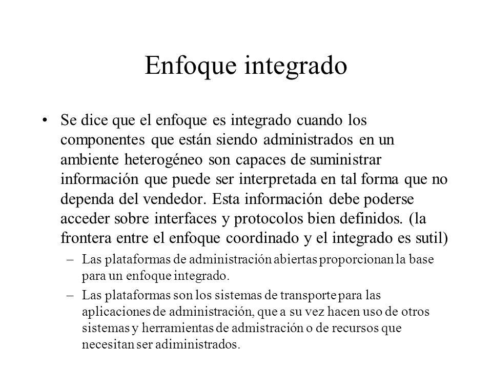 Enfoque integrado Se dice que el enfoque es integrado cuando los componentes que están siendo administrados en un ambiente heterogéneo son capaces de